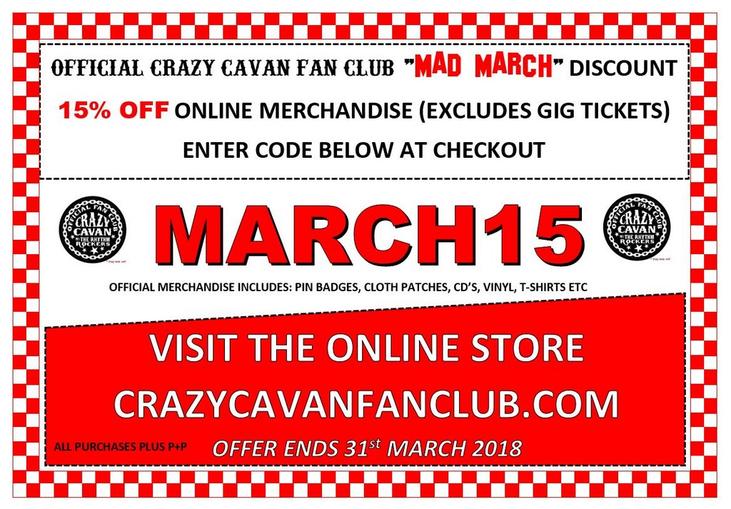 crazy cavan fan club march 2018 discount offer